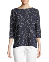 Lafayette 148 New York Floral Jacquard Sweater With Chain Detail Nordic Multi
