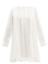Thierry Colson Samia Pintuck Cotton Mini Dress White
