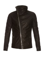 Rick Owens Funnel Neck Leather Jacket Black
