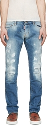 Dsquared Blue Faded And Patched College Wash Slim Jeans