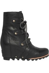 Sorel Leather Wedge Ankle Boots Black