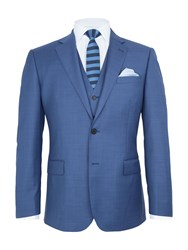 Paul Costelloe Chiltern Sharkskin Wool Suit Jacket Blue
