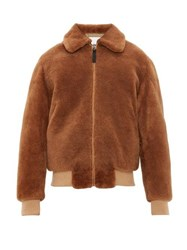 Yves Salomon Shearling Bomber Jacket Brown