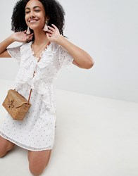 Lost Ink Ruffle Front Mini Tea Dress In Ditsy Floral Print White Multi