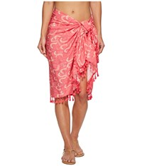 San Diego Hat Company Bss1808 Woven Flamingo Print Sarong Cover Up Pink Scarves