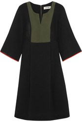 Cefinn Twill Paneled Voile Dress Black