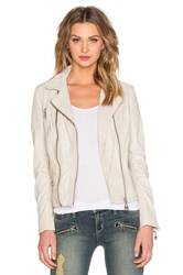 Doma Double Zipper Biker Leather Jacket Beige