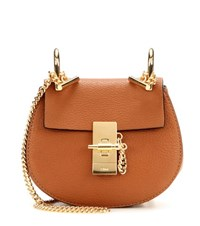 Chloe Nano Drew Leather Shoulder Bag Brown