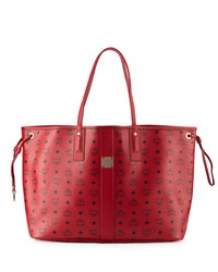 Mcm Liz Large Reversible Visetos Shopper Tote Bag Ruby