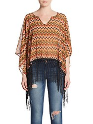 Steve Madden Chevron Fringed Top Orange