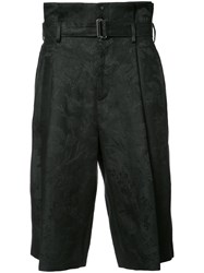 Aganovich Belted Cropped Trousers Black