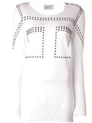 Laneus Studded Sweatshirt White