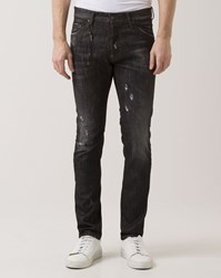 Dsquared Charcoal Grey Natural Scratched Cool Guy Jeans With Chain Black