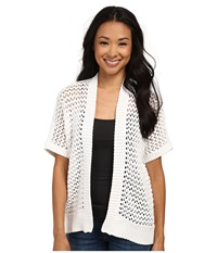 Dkny Short Sleeve Mesh Stitch Cardi White Women's Sweater