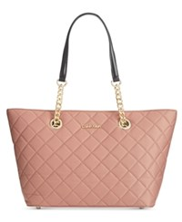 Calvin Klein Dressy Nylon Quilted Tote Deep Blush