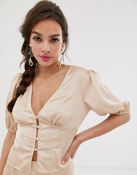 Finders Keepers Cristina Button Down Blouse In Sketch Print Beige