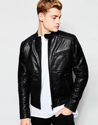 Solid Leather Jacket With Padded Shoulders Black