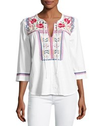 Johnny Was Boho Embroidered Tee White