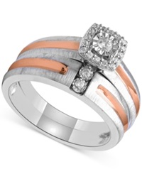 Beautiful Beginnings Diamond Bridal Set 1 5 Ct. T.W. In Sterling Silver And 14K Rose Gold