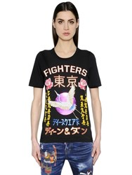 Dsquared Fighters Japanese Printed Jersey T Shirt