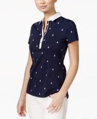 Tommy Hilfiger Lobster Print Polo Top Navy Classic White
