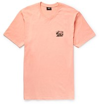Stussy Giza Printed Cotton Jersey T Shirt Peach