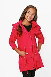 Boohoo Lightweight Faux Fur Hooded Parka Style Coat Pink