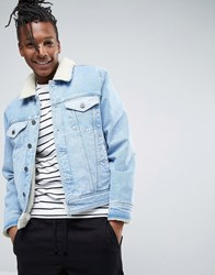 Asos Fully Borg Lined Denim Jacket With Contrast Panels In Blue Wash Mid Wash