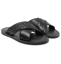 Bottega Veneta Intrecciato Leather Sandals Black