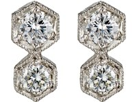 Cathy Waterman Double Hexagon Stud Earrings No Color