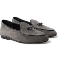 Rubinacci Marphy Leather Trimmed Suede Loafers Anthracite
