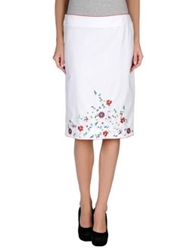 Tomaso Knee Length Skirts White