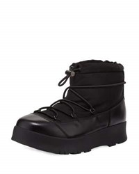Prada Linea Rossa Drawstring Leather Hiking Boot Black Nero