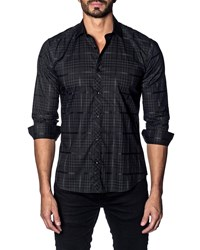 Jared Lang Modern Fit Check Long Sleeve Shirt Black Check