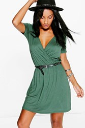 Boohoo Cap Sleeve Wrap Skater Dress Khaki