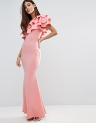 Club L Bridesmaid One Shoulder Ruffle Detail Maxi Dress Quartz Pink 141714 T