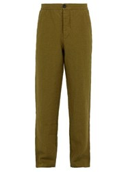 Oliver Spencer Loose Fit Linen Trousers Green