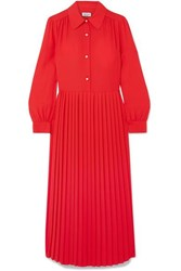Paul And Joe Barbara Pleated Crepe Midi Dress Red