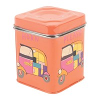 Ian Snow Hand Painted Rickshaw Stainless Steel Canister Orange