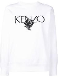 Kenzo Roses Embroidered Sweatshirt White