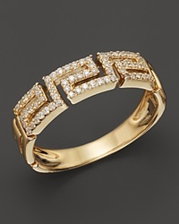 Bloomingdale's Diamond Greek Key Stackable Band In 14K Yellow Gold .20 Ct. T.W. Yellow Gold White Diamonds