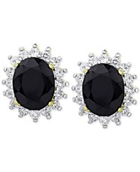 Victoria Townsend Sapphire 3 Ct. T.W. And White Topaz 9 10 Ct. T.W. Stud Earrings In 18K Gold Plated Sterling Silver