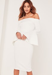 Missguided White Bardot Frill Sleeve Tailored Midi Dress