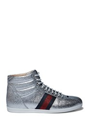 Gucci Sparkly High Top Sneakers Silver