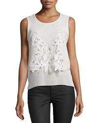 Dex Embroidered Sleeveless Top Light Gray Ivory