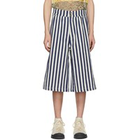 Loewe Navy And Off White Stripe Shorts