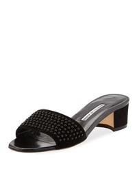 Manolo Blahnik Falcopearl Studded Suede Slide Sandal Black