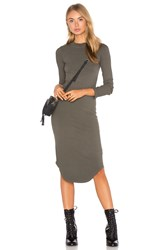 Monrow Mock Neck Long Sleeve Dress Olive