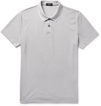 Theory Sandhurst Slim Fit Contrast Tipped Pima Cotton Blend Pique Polo Shirt Gray