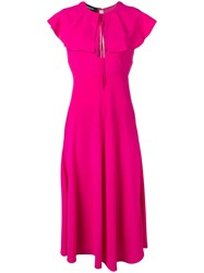 Rochas Flared Collar Dress Pink